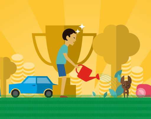Cartoon illustration of a boy walking a dog, a car, a boy watering the garden, a smaller dog, a woman hoovering, trees, a trophy and piles of coins overlaid on a gold background with green grass beneath it, with origami in the top left and right corners