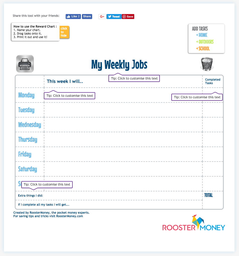 Pocket Money Reward Chart