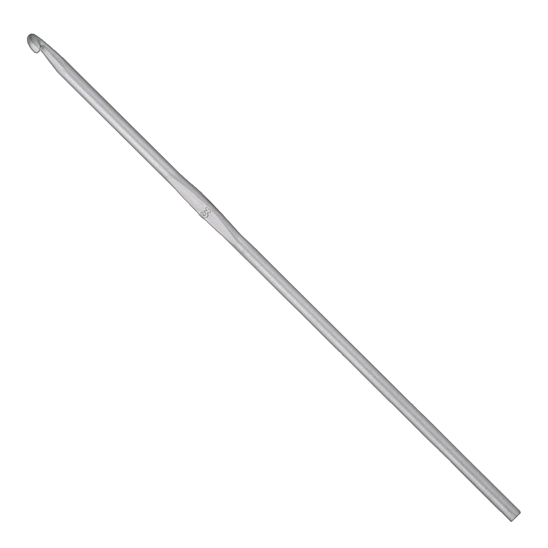 Crochet hook with silver surface