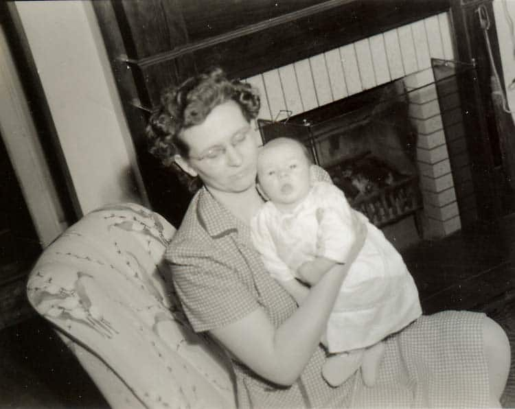 Mildred Moore with son 1945