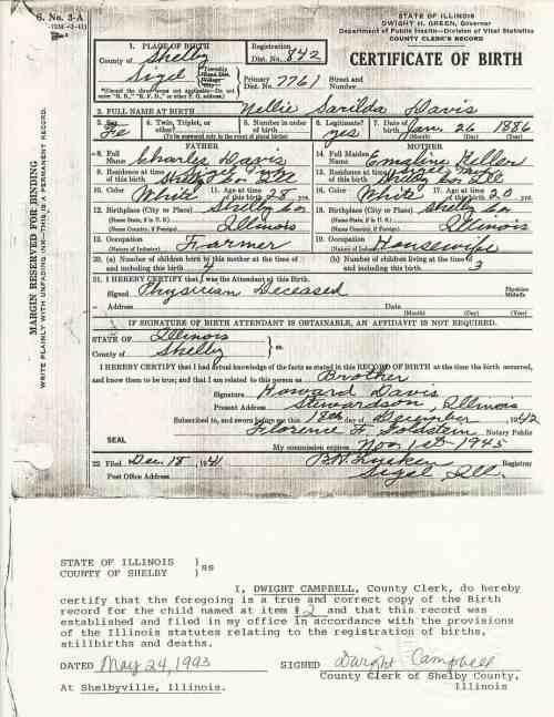 Nellie S. Davis Birth Certificate