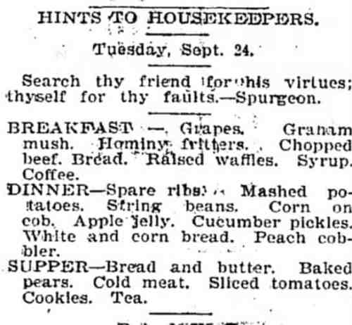 19th century Menu Tennessee