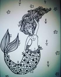 black-and-white-mermaid
