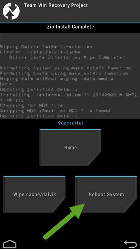 TWRP Recovery Reboot System