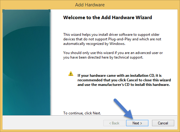 Welcome To The Add Hardware Wizard