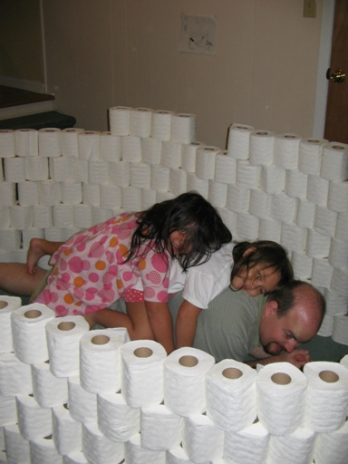 This is the kind of hard work I like these days. Toilet paper forts don't build themselves after all.