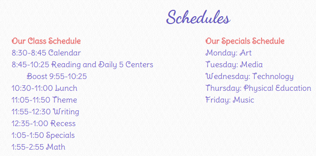 The kindergarten daily schedule for those that adore routine