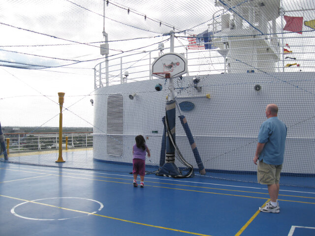 Just shootin' some hoops. On a ship.