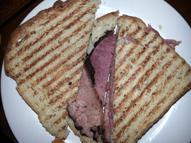 Corned beef and pastrami reuben panini