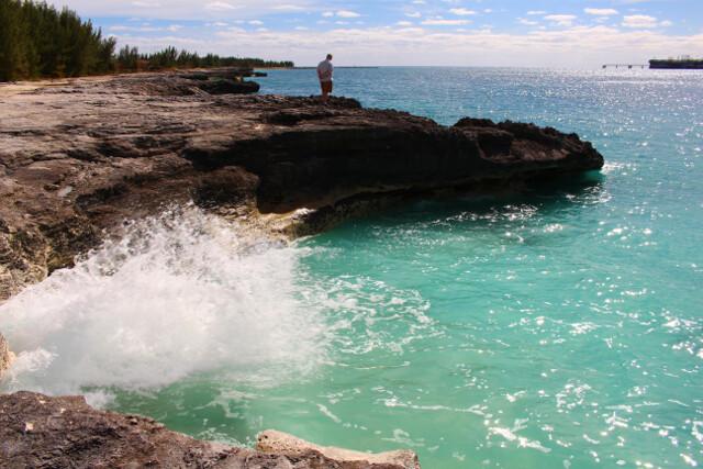 Mind-blowing rocky shoreline in Freeport, Bahamas.