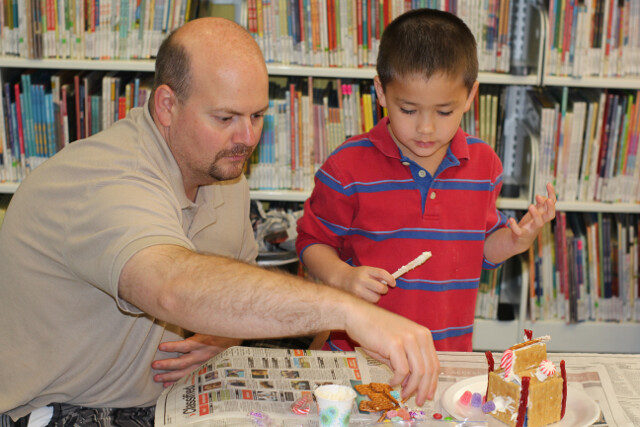 Free gingerbread house event at the public library.