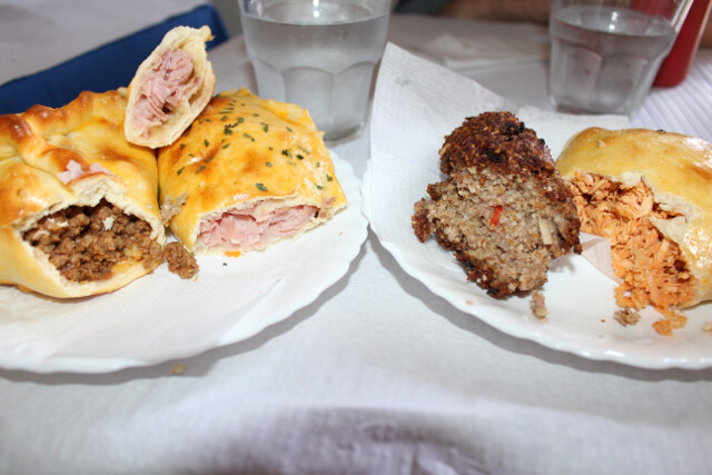 """$5 for 3 empanadas and a $1.50 """"quibe"""" - fried meaty deliciousness"""