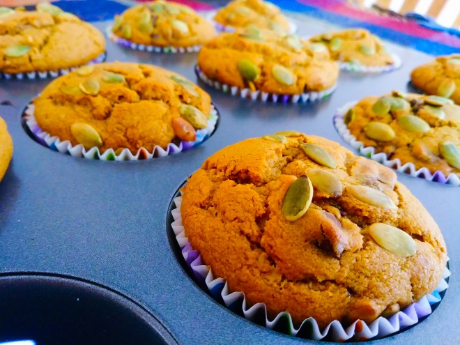 pumpkin and pepita muffins
