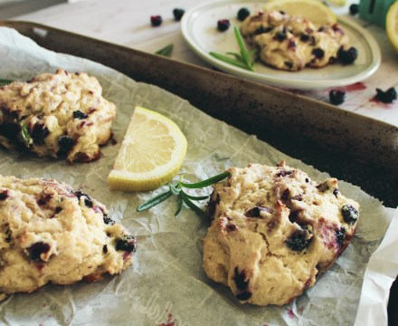 Gluten-Free Lemon Lavender Scones with Black Raspberries