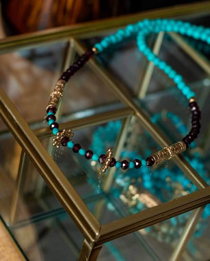 Formentera turquoise grenat