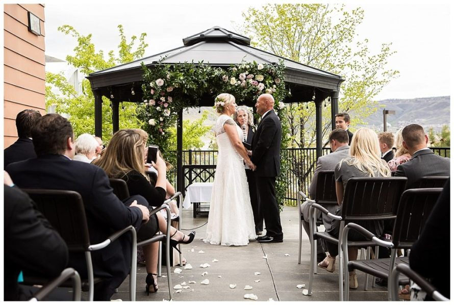 gazebo wedding ceremony garland pink roses