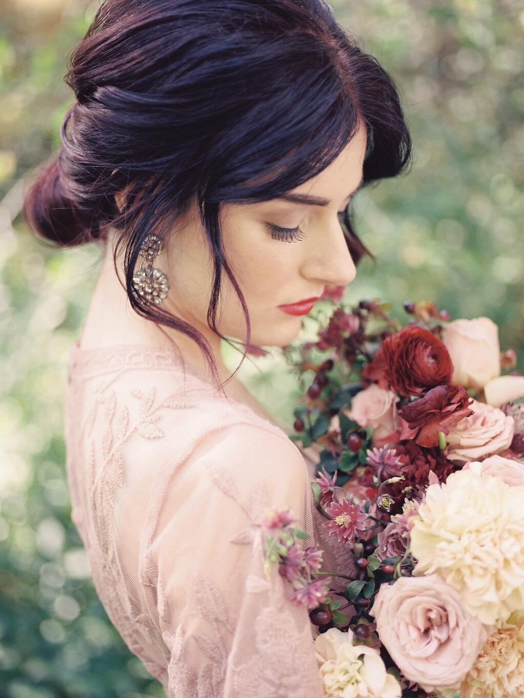 Dusty Pink Burgundy Plum and Cream Bridal Bouquet