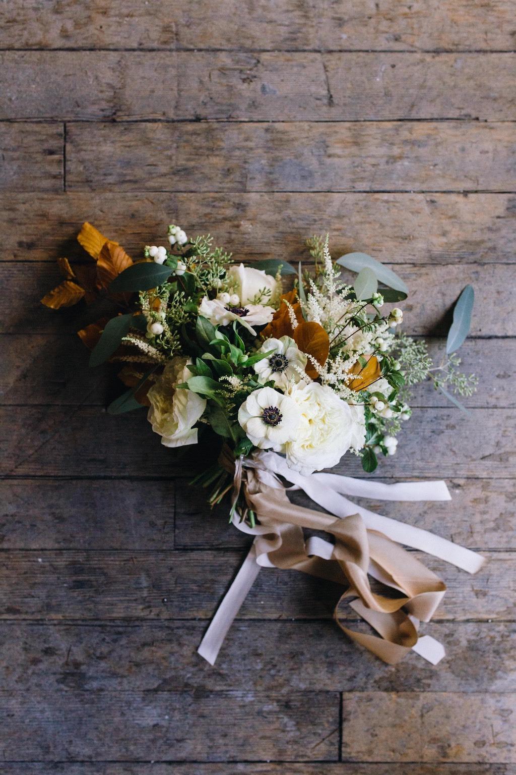White, green, copper wedding flowers