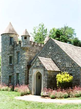 A castle-like stone building at Yew Dell Botanical Gardens, a wedding venue in Kentucky