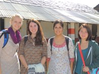 Jagori volunteers prepare to help teach at a school in Badanj: from left - Eva, Ceinwen, Clarke, and Cheryl