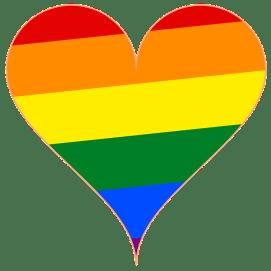 Rainbow flag in heart shape