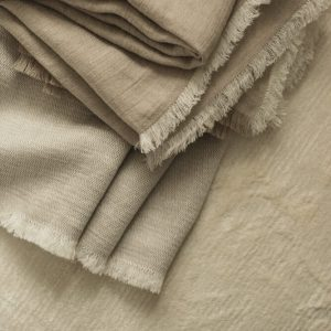 White Fishbone Linen Throw interior