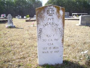 James Jackson Johns's Grave in Paulding Co., Georgia, courtesy of FindAGrave.com
