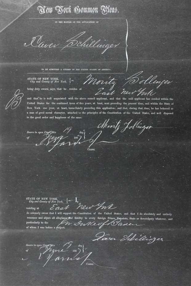 Naturalization Record of Xaver Schillinger