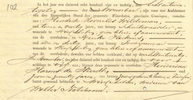 Hederina Harms de Weert - Death Certificate