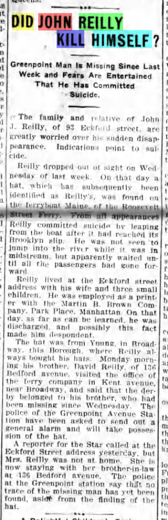 Did John Reilly Kill Himself? Article from The Greenpoint Weekly Star, 22 March 1902.