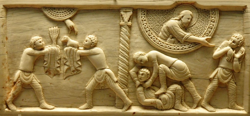 Cain and Abel, ivory panel from the cathedral of Salerno, ca. 1084.