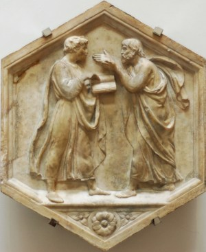 A marble panel depicting Plato and Aristotle in dialogue