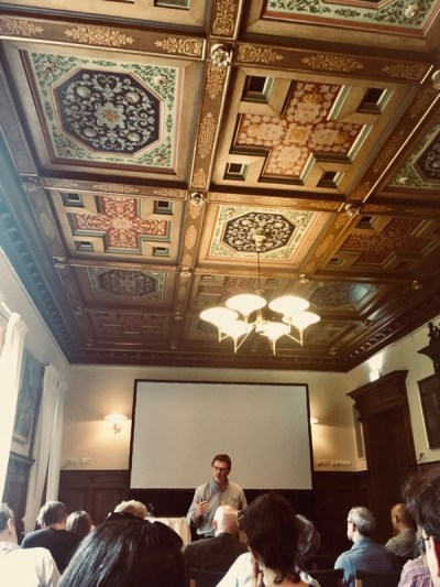 Photo of Paul Russell speaking at a conference in Lund, 2019