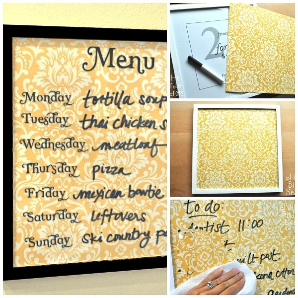 Easy Wipe Off Weekly Menu Board