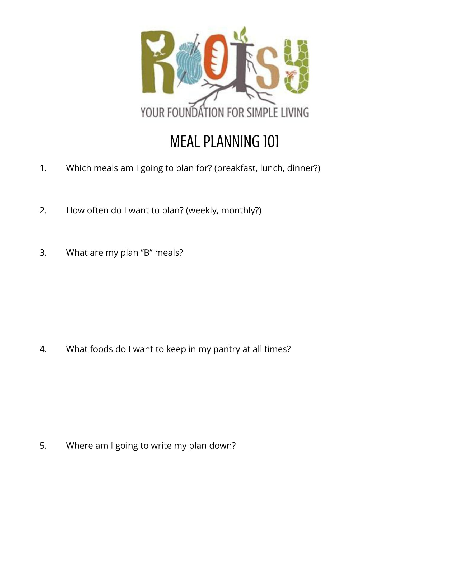 Meal Planning 101 Worksheets 1