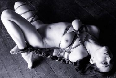 Gestalta on the floor Hair bondage.