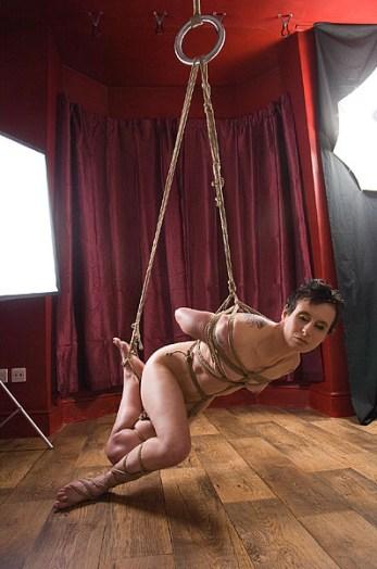 Unbalanced low partial shibari bondage suspension
