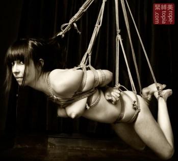 Hair bondage shibari suspension
