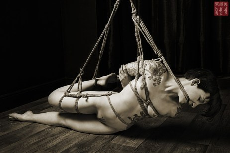 Gote Shibari and rope gag, leg bondage.