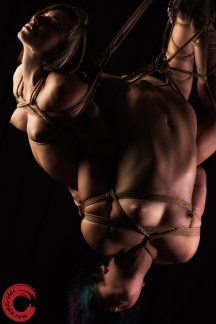 Gorgone and Fuoco in double back bend high stress shibari suspension