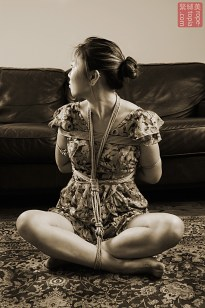 Asian Bella. Agura shibari