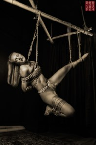Face up shibari suspension bondage.