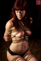 Bound in shibari rope bondage