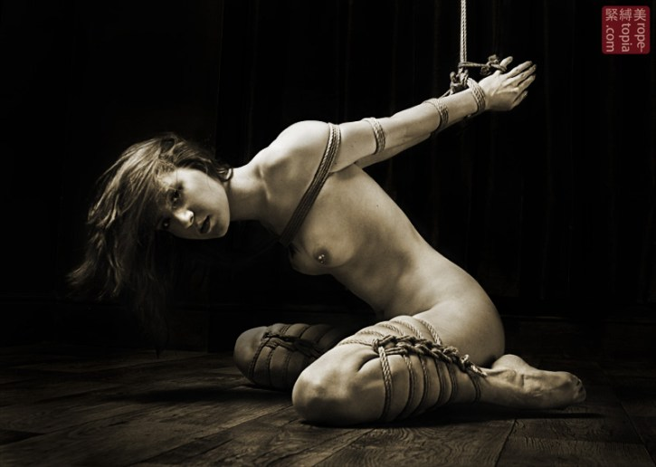 Scarlot Rose tied in shibari bondage by WykD Dave, image by Clover