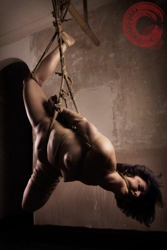Full shot shibari suspension with rope gag