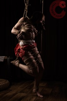 Raggydoll Shibari partial suspension, leg bondage.