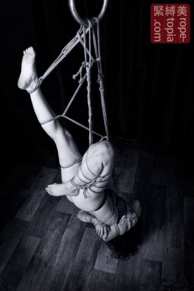 Inverted shibari bondage