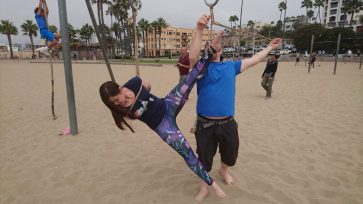 Fun times Shibari at the Original Muscle Beach Santa Monica LA