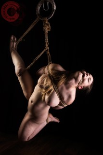 Ankrah High leg shibari with reverse prayer hair bondage and rope gag