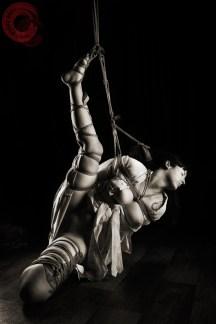 Very stressful partial suspension Shibari bondage in kimono. WykD method TK. Bondage images by WykD Dave & Clover.
